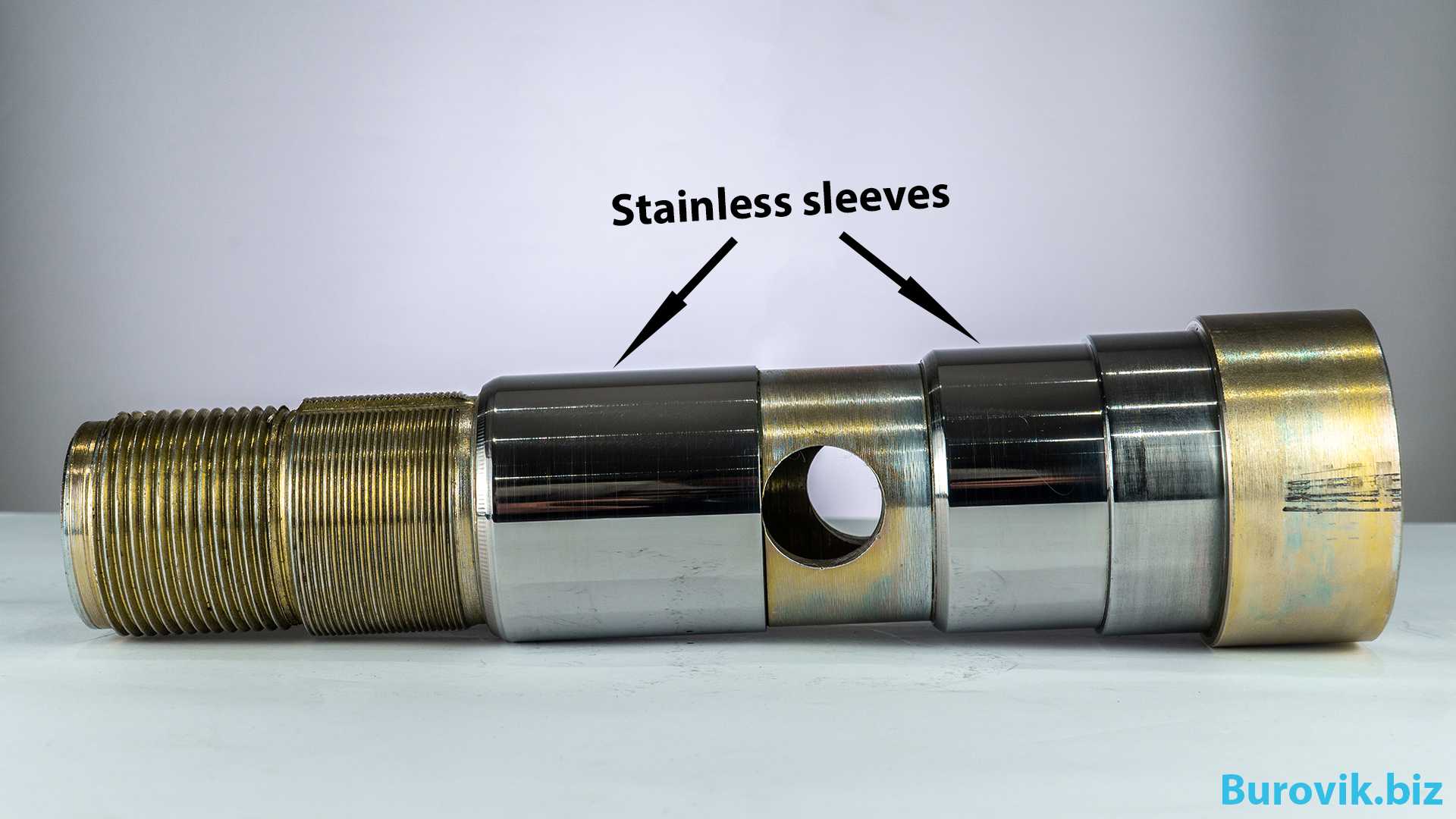 Shaft with stainless sleeves for water swivel